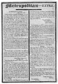 Georgetown Metropolitan - July 12, 1826 - Reporting on the deaths of Presidents Jefferson and Adams.