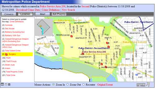 MPD's Crime Map for PSA 206