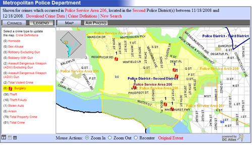 MPD's Crime Map for PSA 206