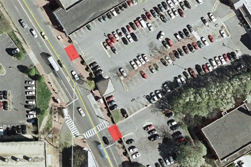 Curb cuts in red